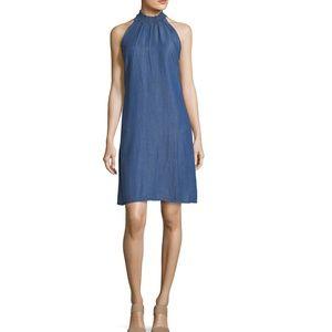 Smocked-Neck Chambray Sleeveless Dress Sz S denim